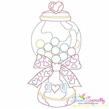 Valentine's Day Color Work- Candies Jar Embroidery Design