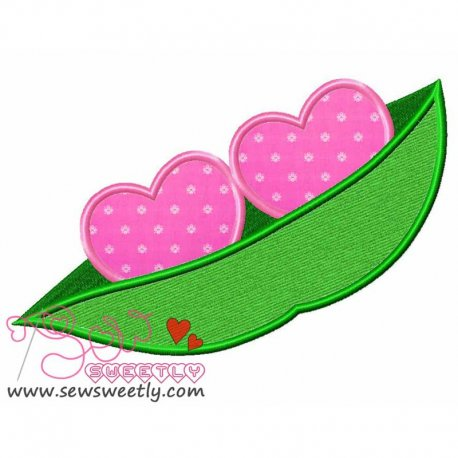Two Hearts In a Pod Applique Design