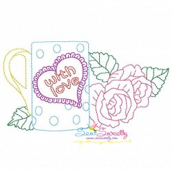 Valentine's Day Color Work- Coffee Cup Roses Embroidery Design