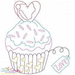 Valentine's Day Color Work- Cupcake Embroidery Design
