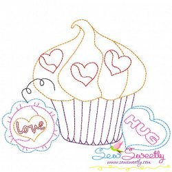 Valentine's Day Color Work- Cupcake-2 Embroidery Design