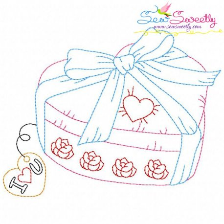 Valentine's Day Color Work- Heart Gift Embroidery Design