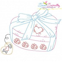 Free Valentine's Day Color Work- Heart Gift Embroidery Design
