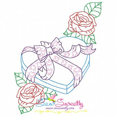 Valentine's Day Color Work- Heart Gift Roses Embroidery Design Pattern- Category- Valentine's Day Designs- 1