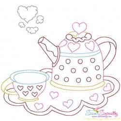 Valentine's Day Color Work- Kettle Cup Embroidery Design