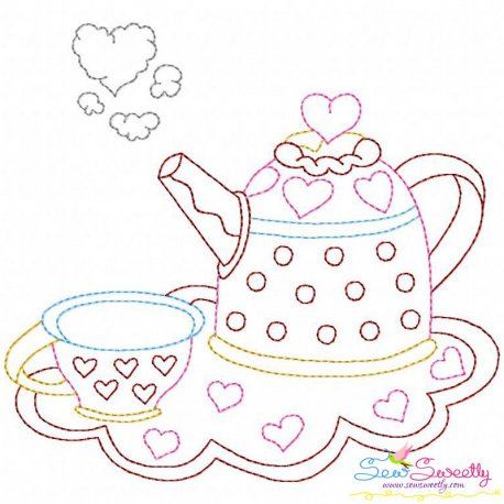 Valentine's Day Color Work- Kettle Cup Embroidery Design Pattern- Category- Valentine's Day Designs- 1