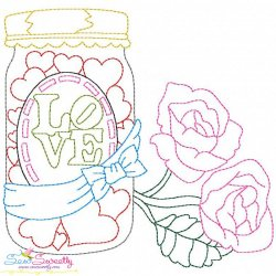 Valentine's Day Color Work- Love Candies Jar Embroidery Design