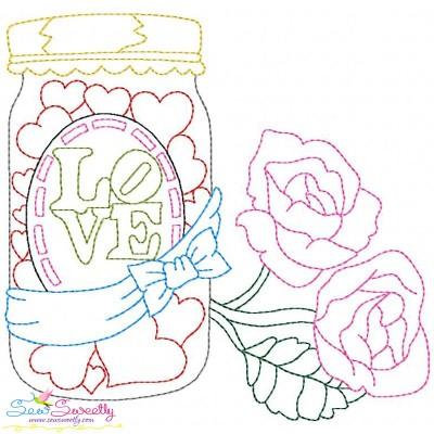Valentine's Day Color Work- Love Candies Jar Embroidery Design