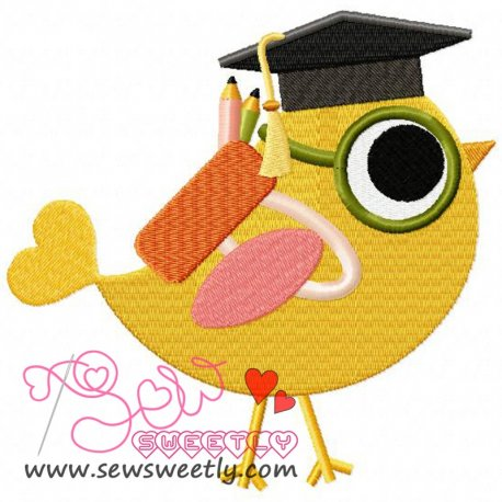 Student Bird Embroidery Design
