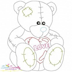 Valentine's Day Color Work- Teddy Bear Embroidery Design
