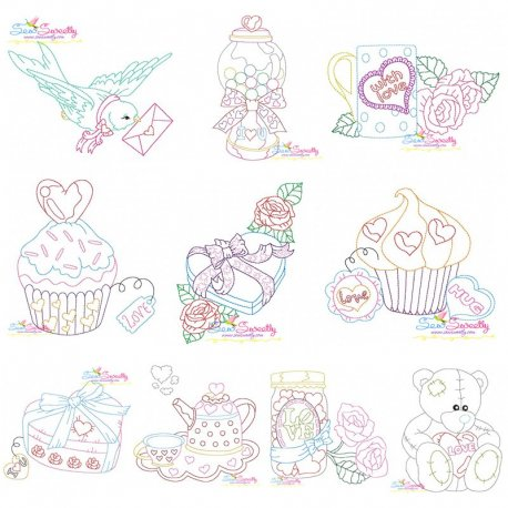 Valentine's Day Color Work Embroidery Designs-Full Set