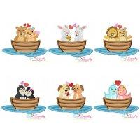 Love Boat Animals Applique Design Bundle