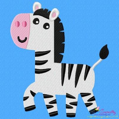 Cute Zebra Embroidery Design