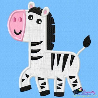 Cute Zebra Applique Design