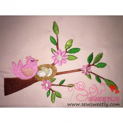 Bird On Branch-3 Embroidery Design