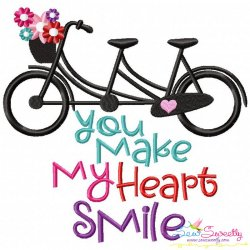 You Make My Heart Smile Bicycle Embroidery Design