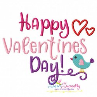 Happy Valentine's Day Embroidery Design