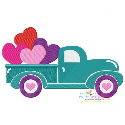 Valentine's Truck Embroidery Design