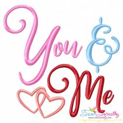 You and Me Valentine Embroidery Design
