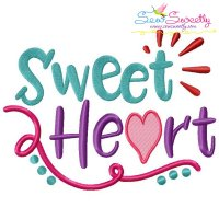 Sweet Heart Lettering Embroidery Design