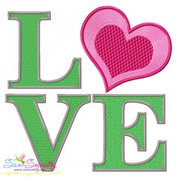 Love Heart Lettering Embroidery Design