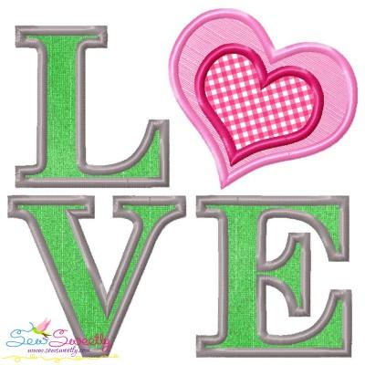 Love Heart Applique Lettering Embroidery Design