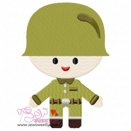 Army Boy-2 Embroidery Design Pattern- Category- War And Weapons Designs- 1