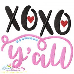 XOXO Y'all Lettering Embroidery Design