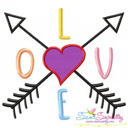 LOVE with Arrows Lettering Embroidery Design