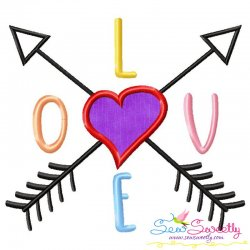 LOVE with Arrows Lettering Applique Design