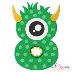 Monster Number-8 Embroidery Design