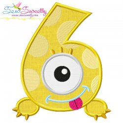 Monster Number-6 Applique Design