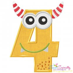 Monster Number-4 Applique Design