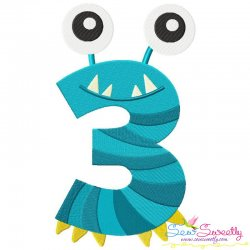 Monster Number-3 Embroidery Design