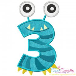 Monster Number-3 Applique Design