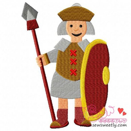 Gladiator-1 Embroidery Design Pattern- Category- War And Weapons Designs- 1