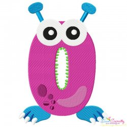 Monster Number-0 Embroidery Design
