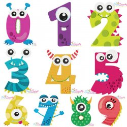 Monster Numbers Embroidery Design Bundle