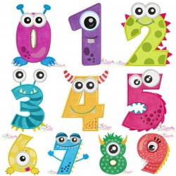 Monster Numbers Applique Design Bundle