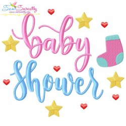 Baby Shower Lettering Embroidery Design