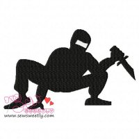 Ninja Crouching Silhouette Embroidery Design