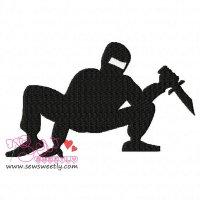 Ninja Crouching Silhouette Embroidery Design