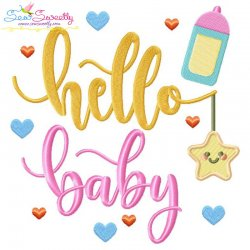 Hello Baby Lettering Embroidery Design