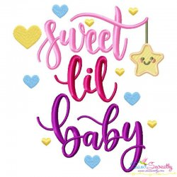 Sweet Lil Baby Lettering Embroidery Design