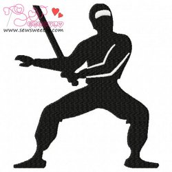 Ninja With Sword Silhouette Embroidery Design