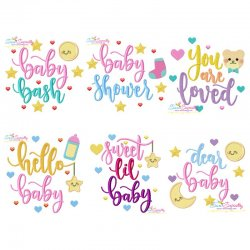 Baby Shower Lettering Embroidery Design Bundle