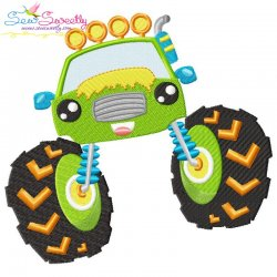 Green Monster Truck Embroidery Design