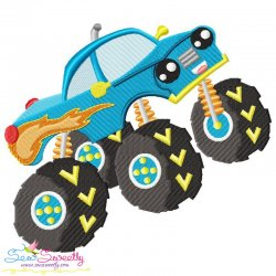 Blue Monster Truck Embroidery Design