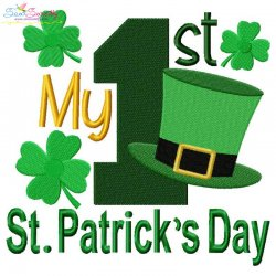 My 1st St. Patrick's Day Lettering Embroidery Design