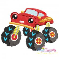 Red Monster Truck Embroidery Design